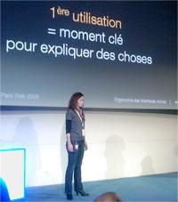 Amélie Boucher lors de la conférence Paris Web 2008