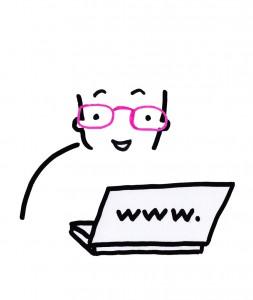 Un personnage avec une mauvaise vue face à un écran d'ordinateur. Par le truchement d'une aide technique -ici une paire de lunettes- il peut consulter le contenu.