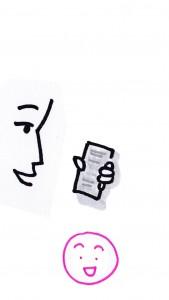 Un personnage consulte son mobile. Bien que le texte soit peu contrasté, le personnage n'est pas gêné.