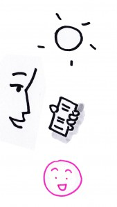 Un personnage consulte son mobile en plein soleil. Le fort contraste des textes sur l'écran lui permet de lire facilement.