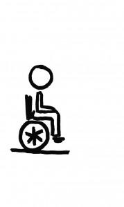 Un personnage en fauteuil roulant. Il souffre d'une déficience physique (permanente ou temporaire) à laquelle il pallie par le truchement d'un fauteuil roulant.