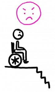 Un personnage en fauteuil roulant en haut d'un escalier. Il est en situation de handicap.