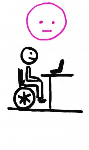 Un personnage en fauteuil roulant face à sa table de travail. Il n'est pas en situation de handicap.